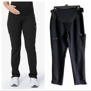 Figs black maternity yola scrubs pants small